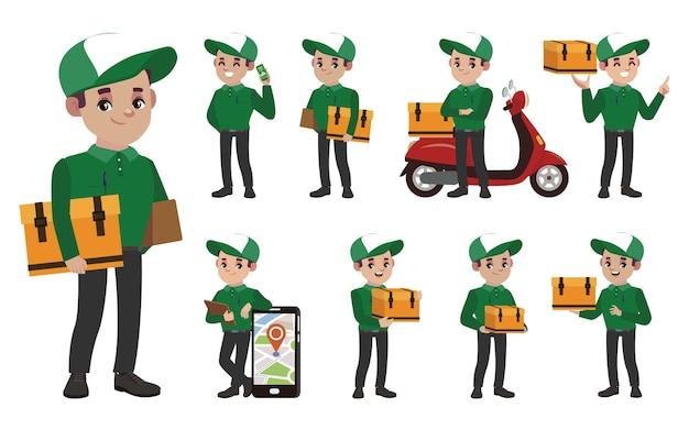 Personal de entrega con diferentes poses.
