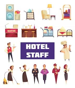Personal del hotel con trabajadores y muebles.