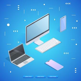 Personal informático, laptop, tablet y smartphone.
