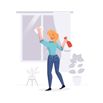 El personal de limpieza profesional limpia la casa. una mujer del servicio de limpieza lava la oferta de tareas de windows. ilustración.