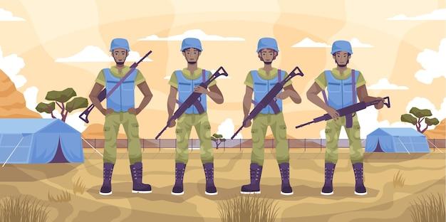 El personal de mantenimiento de la paz guarda el concepto plano de cuatro militares de pie en una ilustración de la ciudad de la carpa