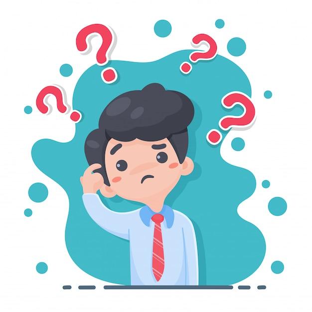Personal masculino en un traje mostrando signos de duda rascándose la cabeza y hay muchos signos de interrogación en la parte superior.