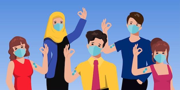 El personal médico fue vacunado contra covid19 al paciente.