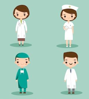 Personal médico lindo en conjunto de caracteres de dibujos animados de hospital
