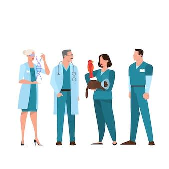Personal médico de pie con el uniforme. equipo del hospital