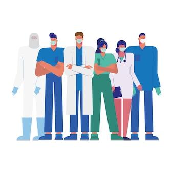 Personal médico profesional con ilustración de máscaras médicas