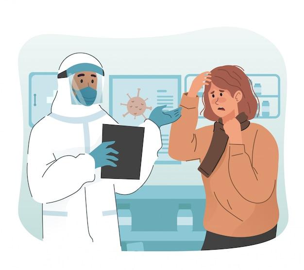 Personal médico con traje protector que habla con el paciente que dio positivo al coronavirus