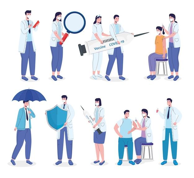 Personal de médicos con ilustración de campaña de vacunación