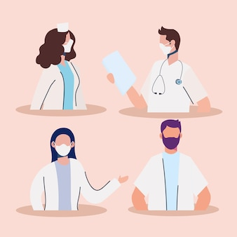 Personal de médicos con ilustración de personajes de máscaras médicas