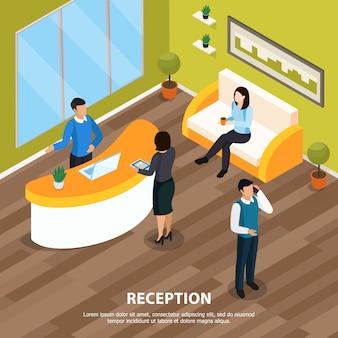 Personal de oficina en recepción isométrica con elementos interiores