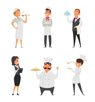 Personal profesional del restaurante. cocinero, camarero y otros personajes de dibujos animados.