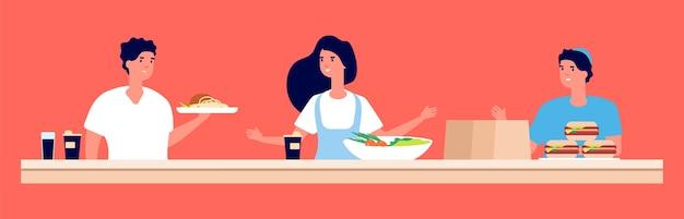 Personal del restaurante. trabajadores de comida rápida con platos y bebidas. personajes de equipo de café de vector, café para llevar. trabajador del personal de servicio en la ilustración de cafetería o restaurante de comida rápida