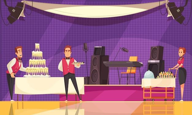 Personal de servicio de restaurante o cafetería durante la preparación de banquetes en dibujos animados de fondo púrpura