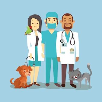 Personal veterinario con lindas mascotas aisladas en azul