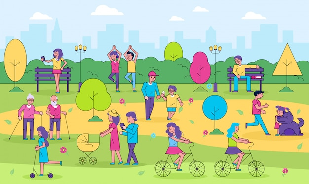 Personas en la actividad al aire libre del parque de la ciudad, personajes de dibujos animados de línea activa mujer hombre divertirse caminando juntos