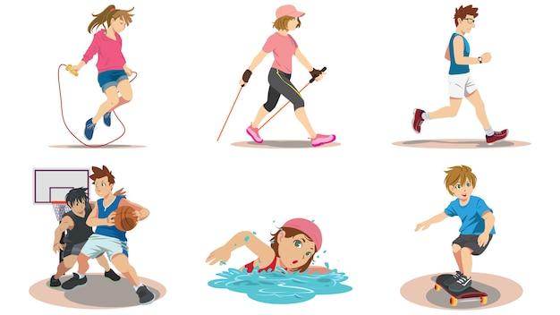 Personas en actividades para una buena salud.