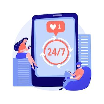 Personas adictas a los teléfonos inteligentes. obsesión por las redes sociales, estilo de vida moderno, abuso de dispositivos. ocio contemporáneo, problema de la generación moderna. ilustración de metáfora de concepto aislado de vector