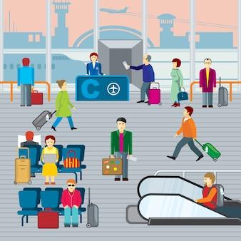 Personas en el aeropuerto. hombre y mujer con viaje de equipaje, salida y viaje. ilustración de vector plano