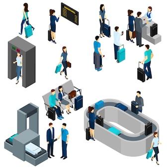 Personas en aeropuerto isométrica