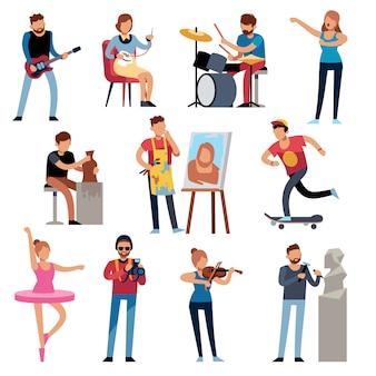 Personas aficionadas. gente de profesiones creativas en el trabajo. ocupaciones artísticas, pasatiempos retro personajes de dibujos animados conjunto de vectores