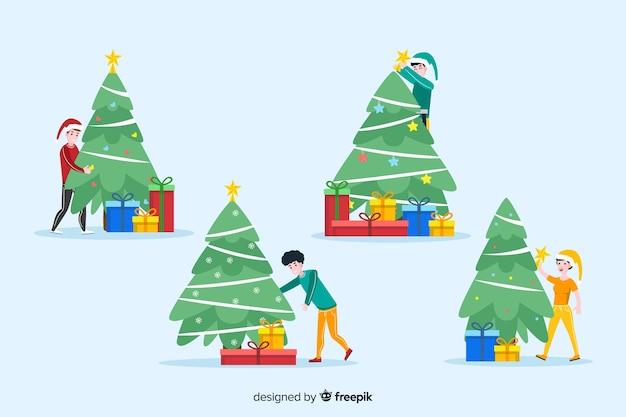 Personas aisladas con fondo de temporada de invierno de árbol de navidad
