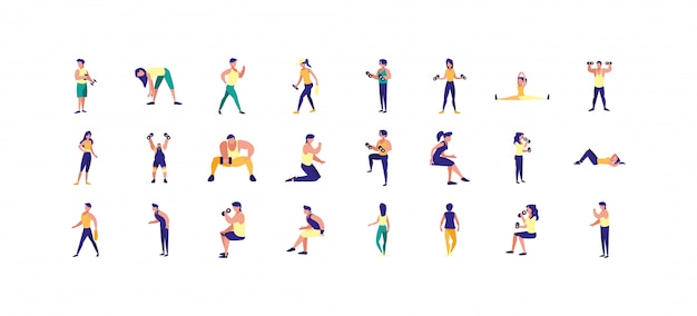 Personas aisladas haciendo conjunto de iconos de deporte