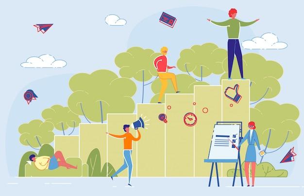Las personas alcanzan la meta personal en el estudio o en los negocios.