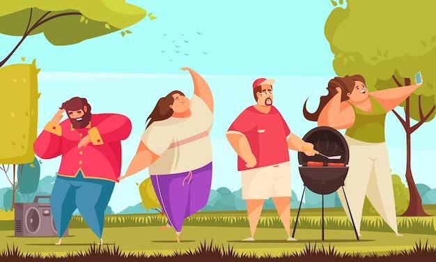 Las personas alegres positivas del cuerpo tienen fiesta en la ilustración de dibujos animados del parque