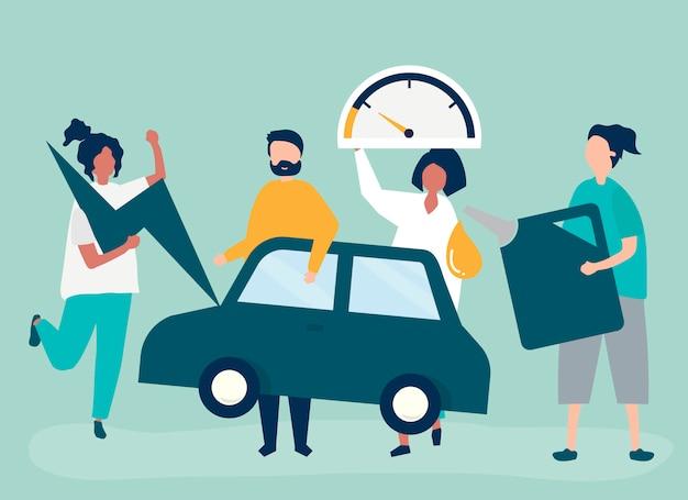 Personas alimentando el coche con gasolina.