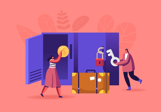 Personas en el almacenamiento de equipaje