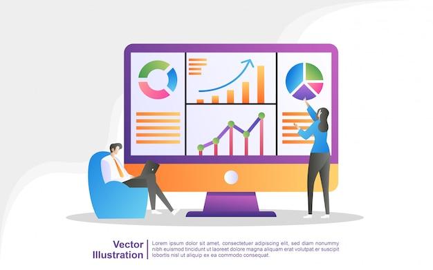 Las personas analizan los movimientos del gráfico y el desarrollo empresarial.