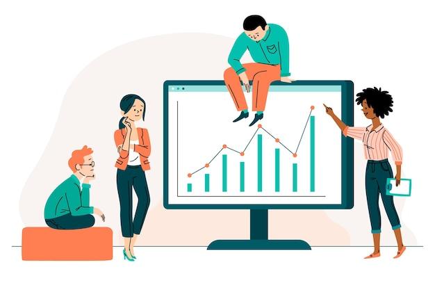 Personas analizando tablas de crecimiento