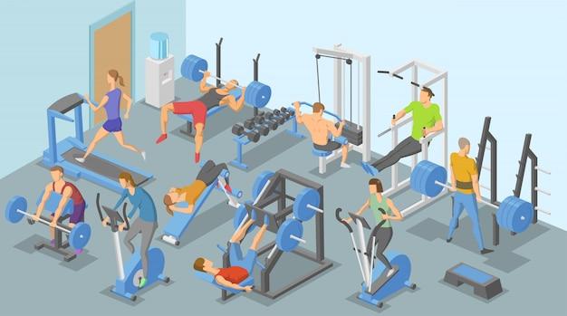 Personas y aparatos de entrenamiento en el gimnasio, diversos tipos de ejercicios físicos. ilustración isométrica. horizontal