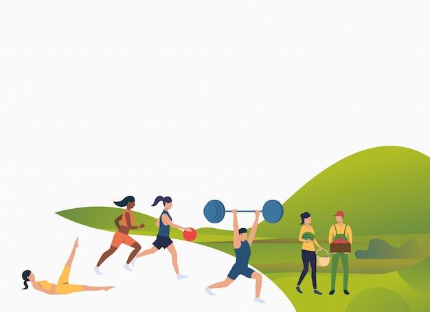 Personas aptas haciendo ejercicios al aire libre