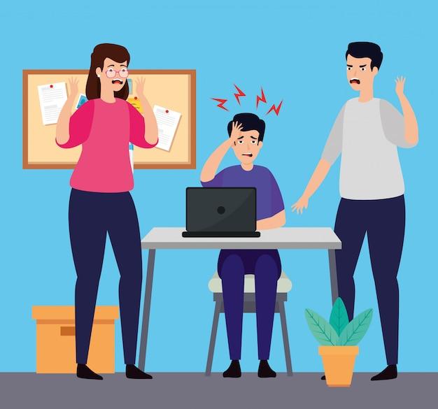 Personas con ataques de estrés en el lugar de trabajo.