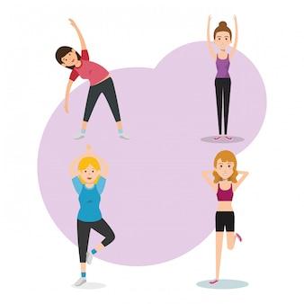 Personas atléticas practicando ejercicios de personajes