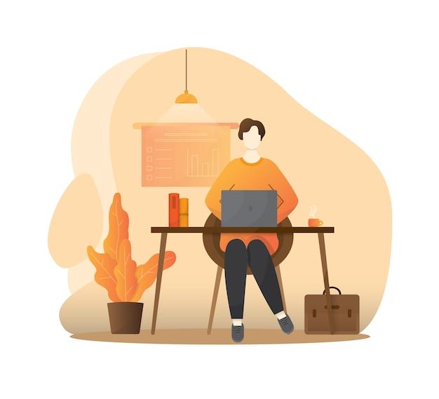 Las personas autónomas trabajan en condiciones cómodas con ilustración plana. personaje freelance trabajando desde casa.