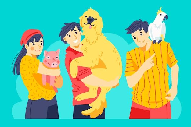 Personas con aves y mamíferos