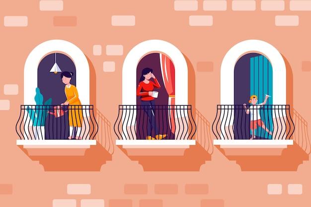Personas en balcones