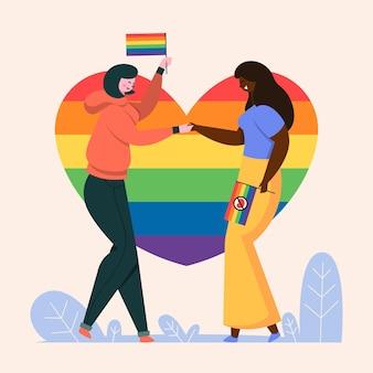 Personas con bandera del orgullo cogidos de la mano