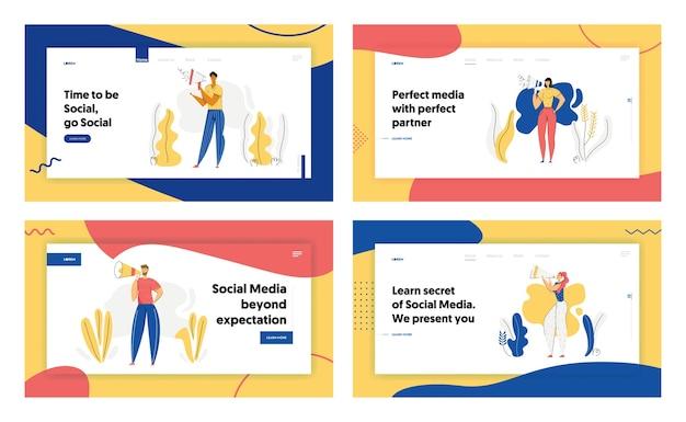 Personas con banner de concepto de publicidad de megáfono. personaje masculino promocionando con altavoz. sitio web de la página de destino de la campaña de venta de marketing de publicidad en redes sociales.