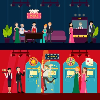 Personas en banners horizontales de casino