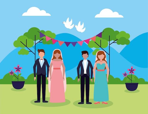 En personas de boda de estilo plano