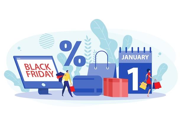 Personas con bolsas de compras y concepto de venta con una línea de personas con compras el viernes negro