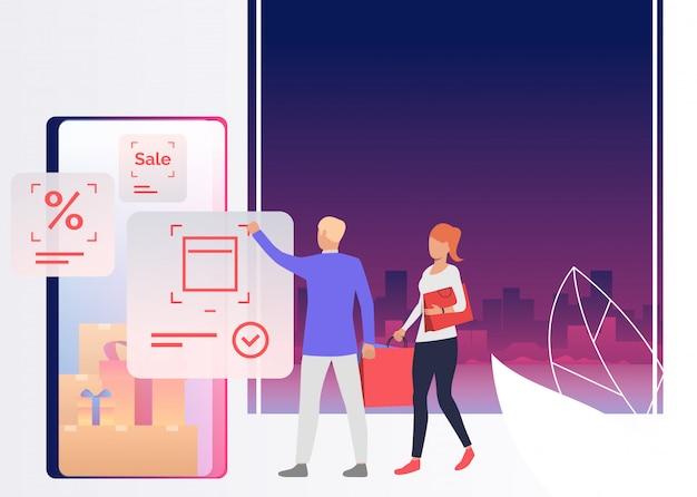 Personas con bolsas y compras en línea