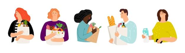 Personas con bolsas de compras. mujeres y hombres de dibujos animados con conjunto de vectores de alimentos
