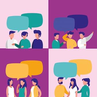 Personas con burbuja de comunicación.