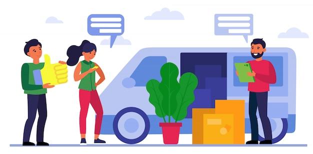 Personas con cajas en camión en movimiento