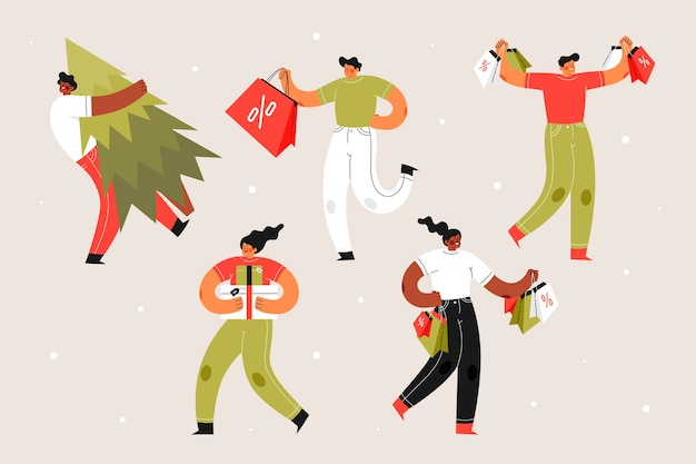 Personas con cajas de regalo y árboles