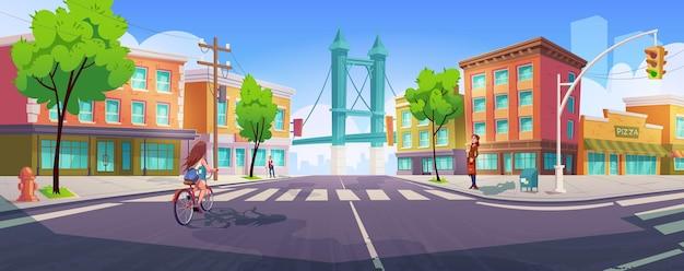 Personas en las calles de la ciudad con cruce, edificios y puentes.